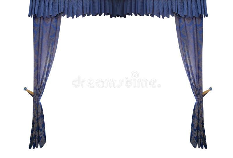 Blå gardin som isoleras på vit bakgrund royaltyfri fotografi