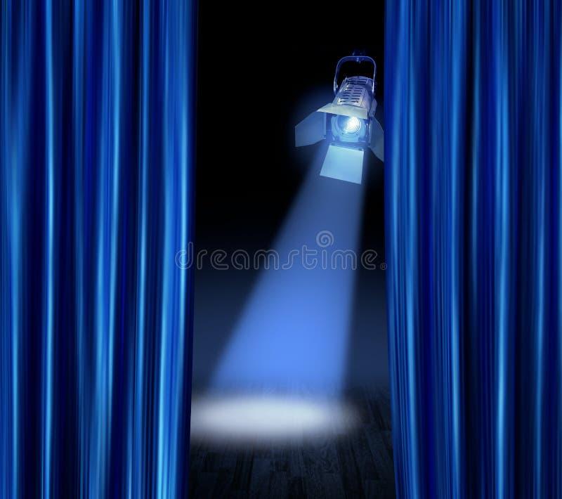 blå gardinstrålkastareetapp arkivbild