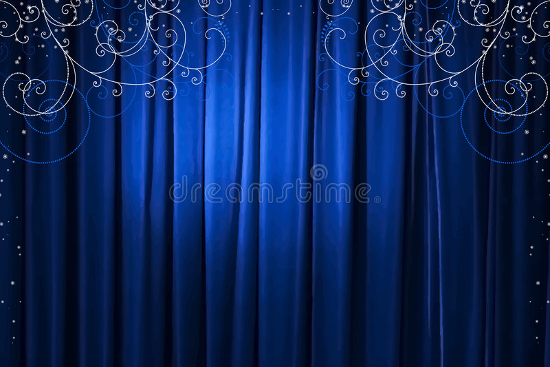 blå gardinvektor stock illustrationer