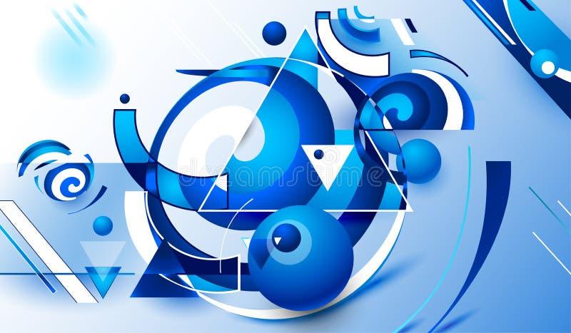 Blå geometrisk abstraktion stock illustrationer