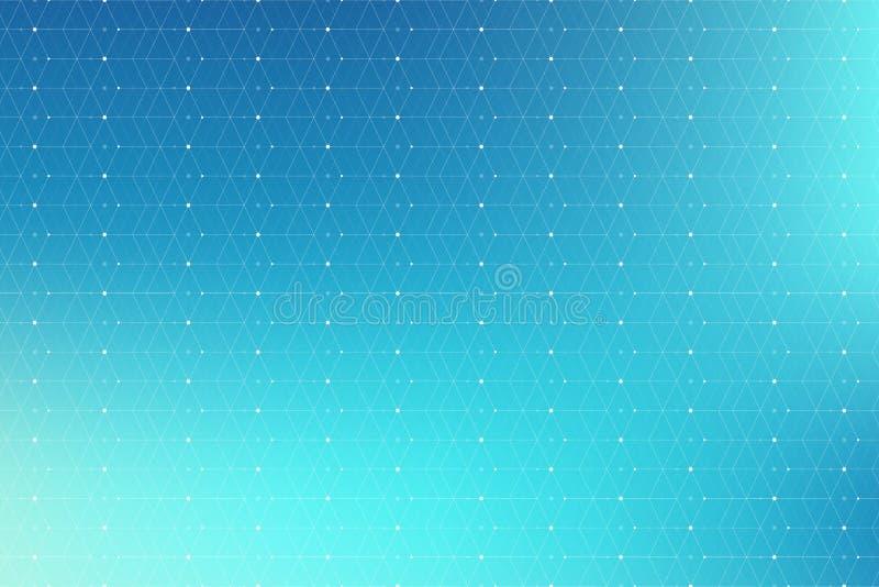 Blå geometrisk modell med förbindelselinjer och prickar Grafisk bakgrundsuppkopplingsmöjlighet Modern stilfull polygonal bakgrund fotografering för bildbyråer