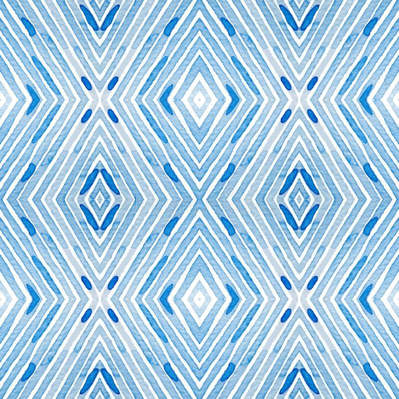 Blå geometrisk vattenfärg Nyfiken sömlös modell Hand drog band Borstetextur Älskvärda Chevr royaltyfri illustrationer
