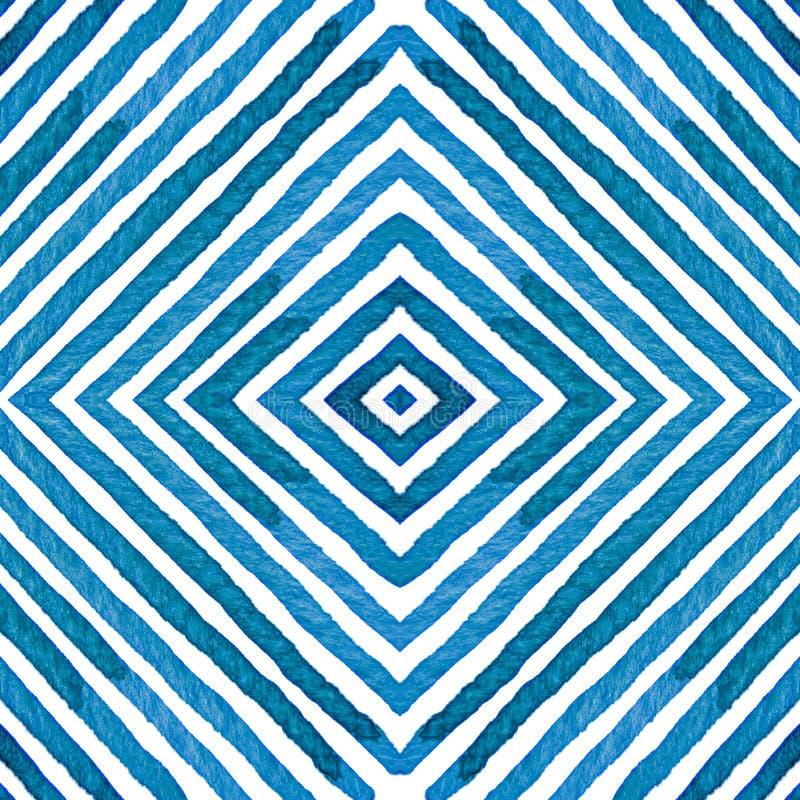 Blå geometrisk vattenfärg Nyfiken sömlös modell Hand drog band Borstetextur utstående royaltyfri illustrationer