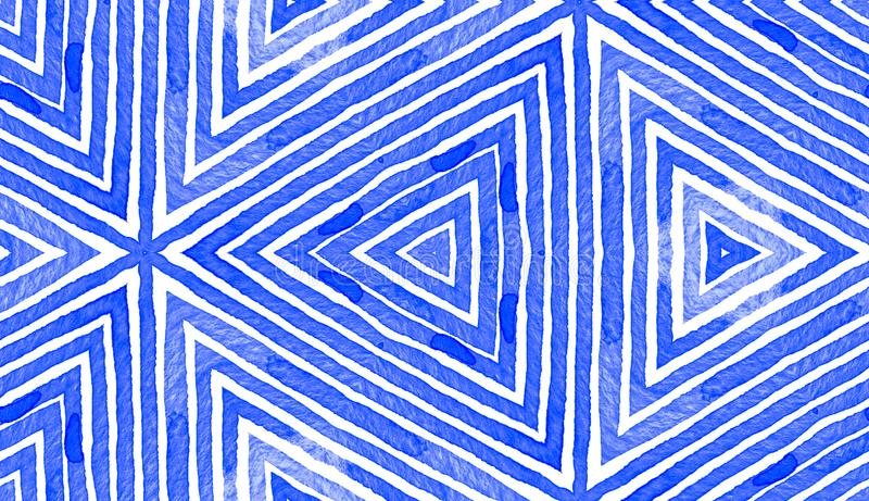 Blå geometrisk vattenfärg seamless gullig modell royaltyfri illustrationer