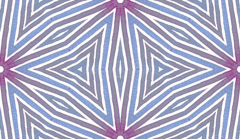 Blå geometrisk vattenfärg seamless gullig modell Hand drog band Borstetextur Driftiga Chevr fotografering för bildbyråer