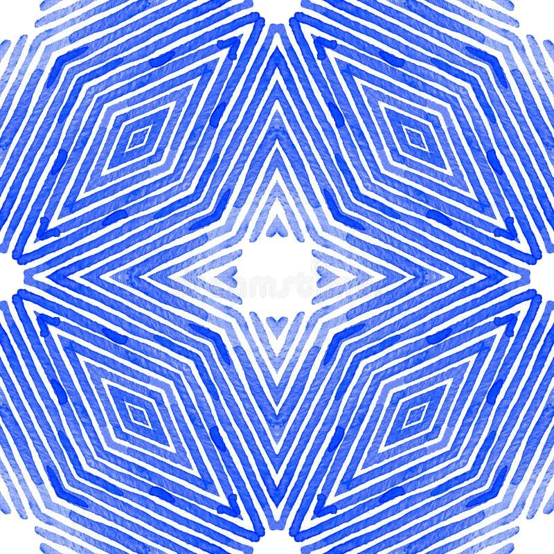 Blå geometrisk vattenfärg seamless gullig modell Hand drog band Borstetextur Modern sparre stock illustrationer