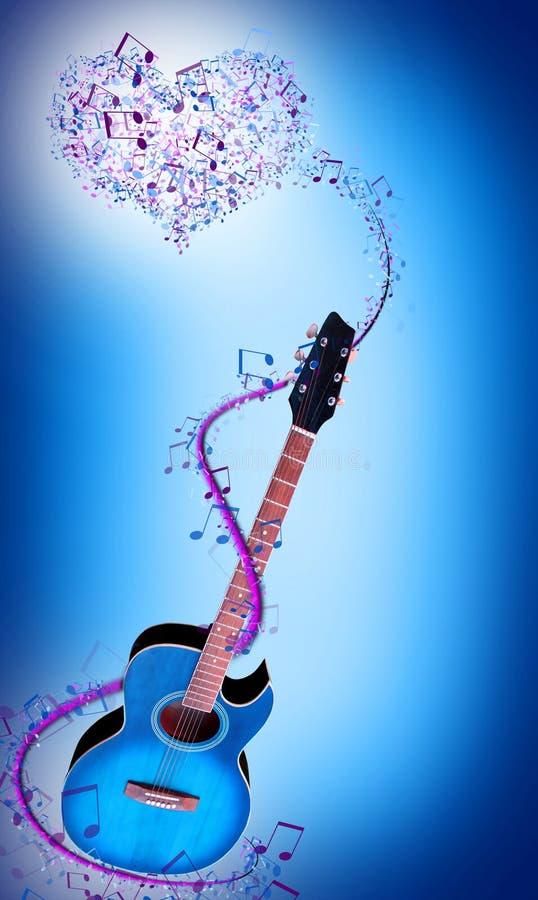 Blå gitarr royaltyfri illustrationer