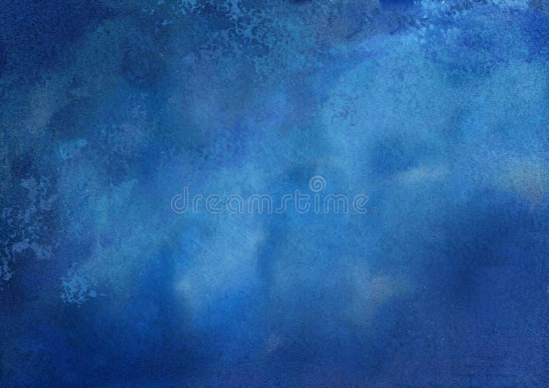 blå gjord självvattenfärg för abstrakt bakgrund royaltyfri illustrationer