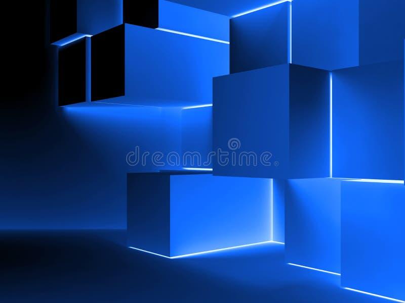 Blå glödande kubinstallation illustration 3d royaltyfri illustrationer