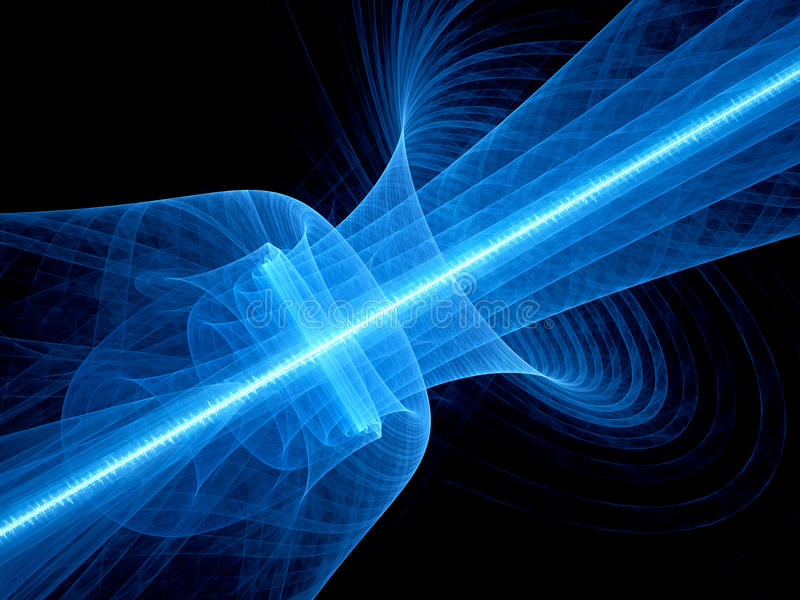 Blå glödande kvantlaser i utrymme med den krusiga strålen royaltyfri illustrationer