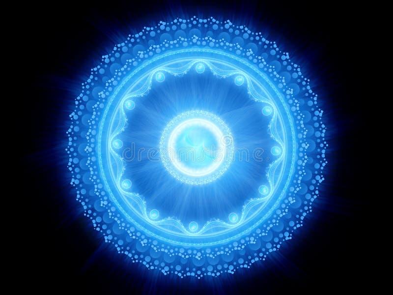 Blå glödande magisk stargate stock illustrationer