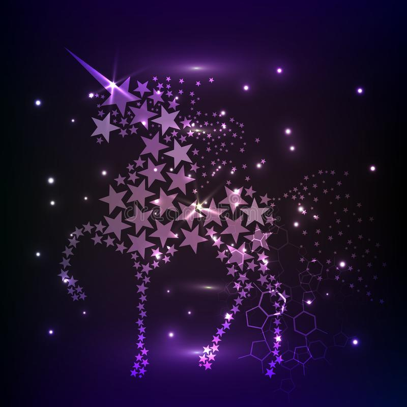 Blå glödande stjärna för himmel för natt för hästenhörningridning Utrymme för kosmos för idérik bakgrund för garnering magisk glä royaltyfri illustrationer