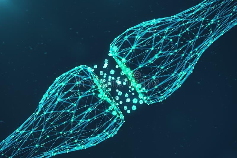 blå glödande synapse för tolkning 3D Konstgjord neuron i begrepp av konstgjord intelligens Synaptic överföringslinjer royaltyfri illustrationer