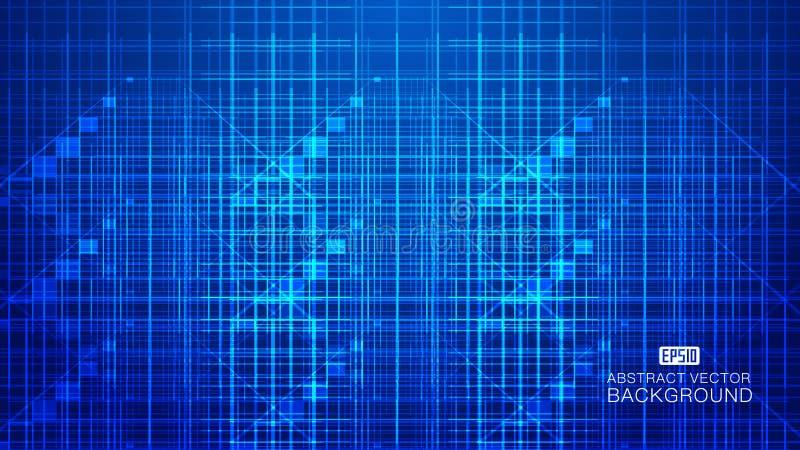 Blå glödande techsammansättning som består av strålar, linjer gör sammandrag vektorbakgrund royaltyfri illustrationer
