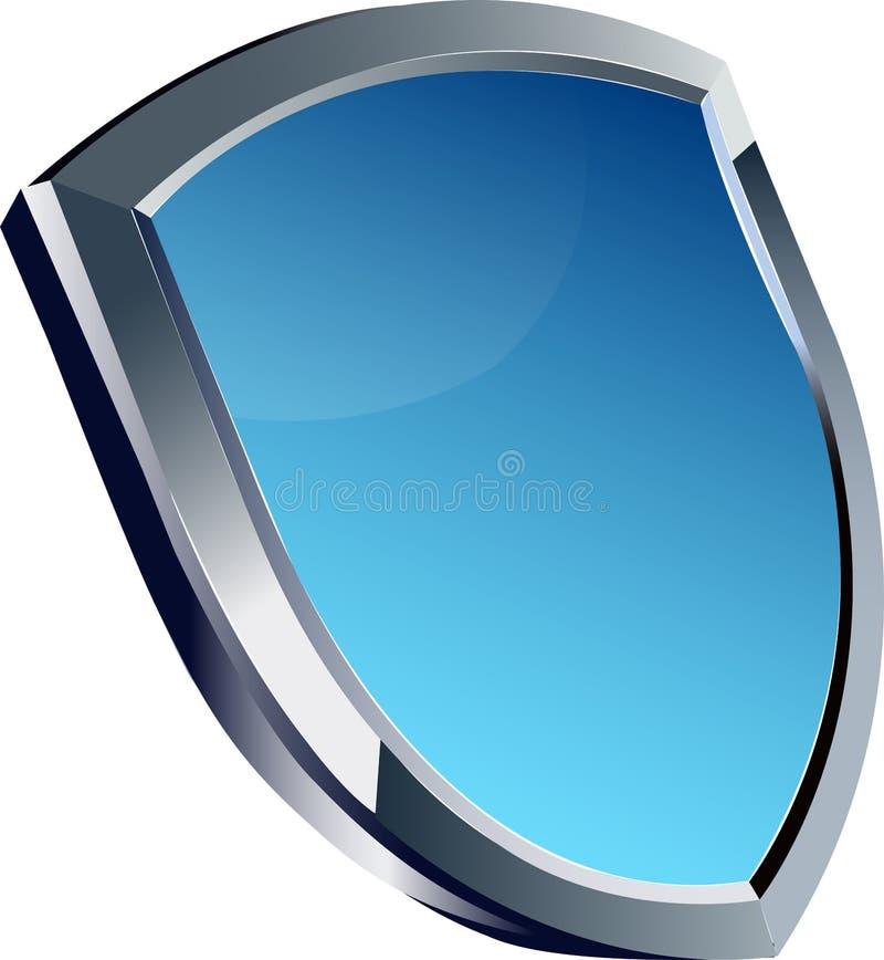 Blå glansig sköldtrofé royaltyfri bild
