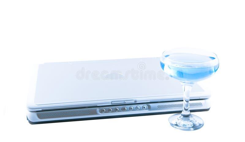 blå glass bärbar dator royaltyfri fotografi