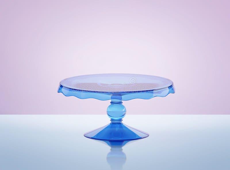 Blå glass kakaställning royaltyfri illustrationer