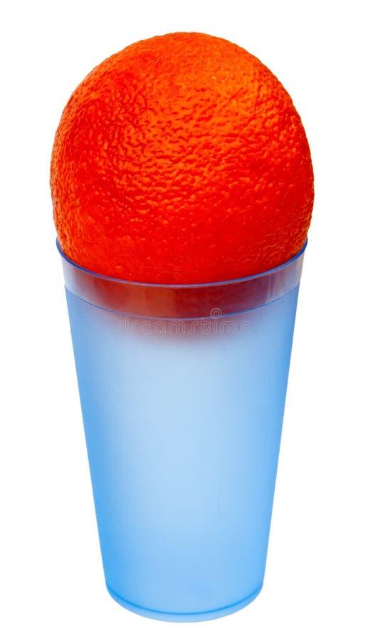 blå glass orange plast- arkivfoto