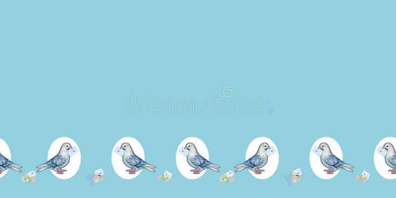 Blå gräns med duvan och kuvertet stock illustrationer