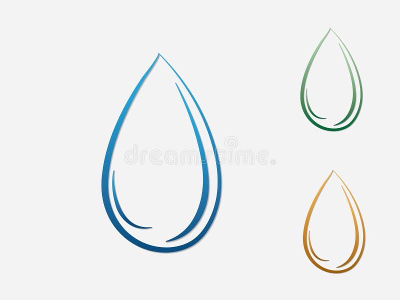 Blå, grön och guld- vattendropplogo eller symbol på vit bakgrund för affär stock illustrationer
