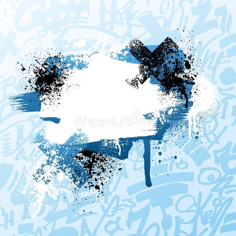 blå grafittimålarfärgsplatter stock illustrationer