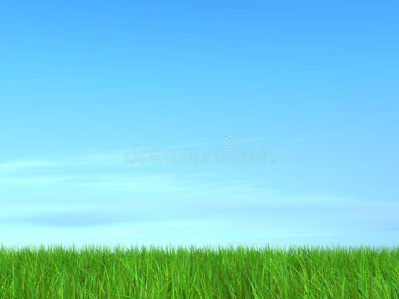blå greensky för fält 3d royaltyfri illustrationer