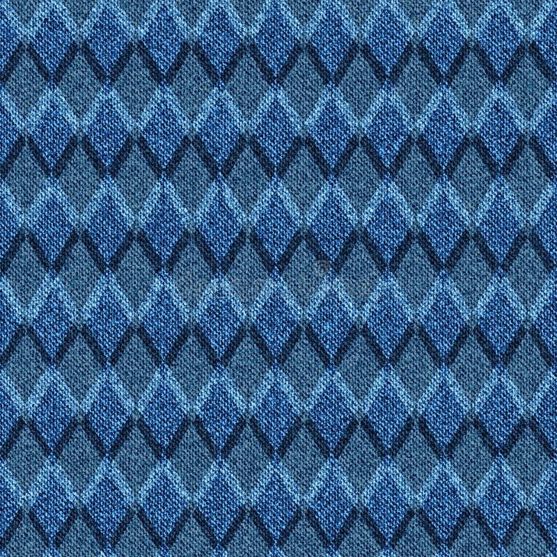 Blå grov bomullstvill med den rastrerade sömlösa argylemodellen vektor illustrationer