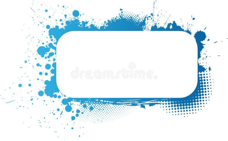 Blå grungeram stock illustrationer