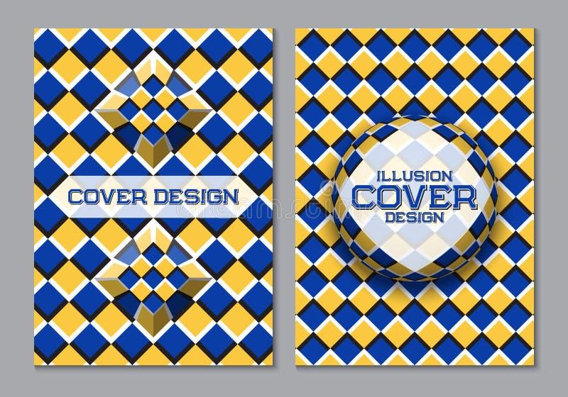 Blå gul mall för design för bokomslag för färgintrig med optiska rörelseillusionbeståndsdelar stock illustrationer