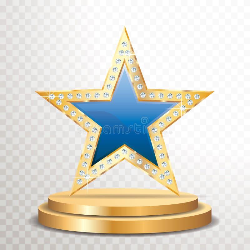 Blå guld- stjärnaädelsten vektor illustrationer