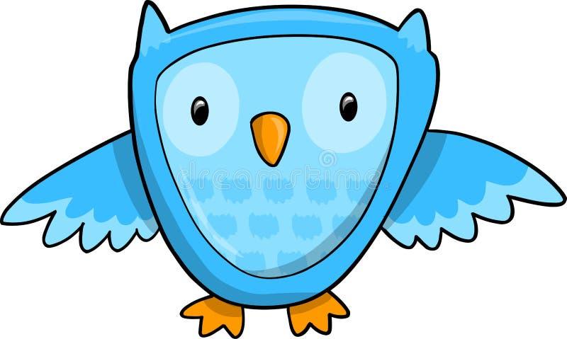 blå gullig owlvektor stock illustrationer
