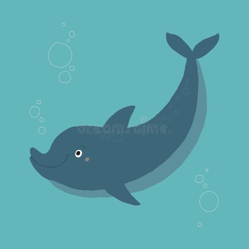 Blå gullig undervattens- delfinsimning Illustrationen f?r eps 10 f?r tecknad filmvektorhanden isolerade den utdragna p? vit bakgr royaltyfri illustrationer