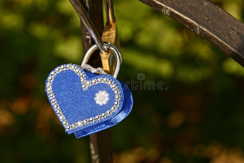 Blå hänglås i form av en hjärta på järnstänger royaltyfri foto