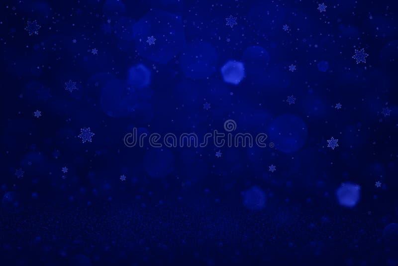 Blå härlig mousserande abstrakt bakgrund blänker ljus och fallande snöflingor för att flyga defocused bokeh - celebratory modell stock illustrationer