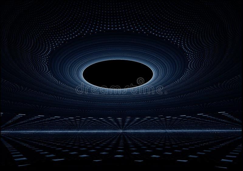 blå hög horisontoändlighet av sträckning av tech till stock illustrationer