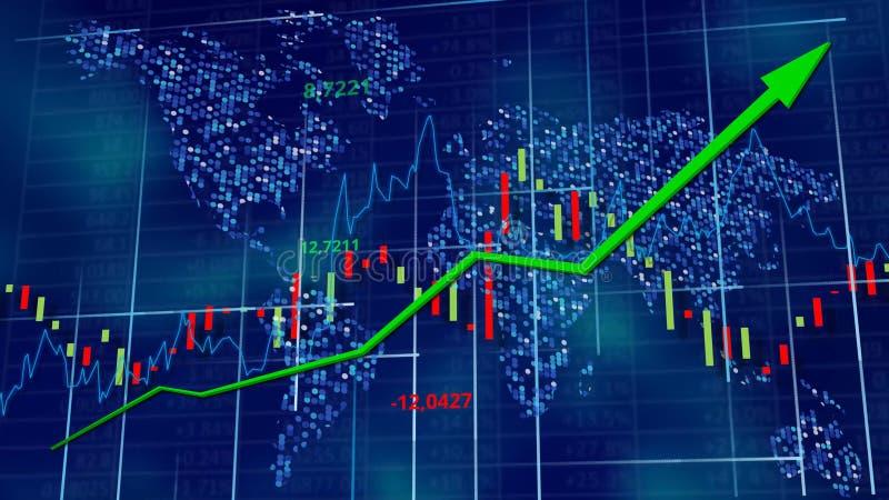Blå högteknologisk bakgrund - materieldiagram med den stigande pilen Världskarta bak siffror, linje och tabeller stock illustrationer