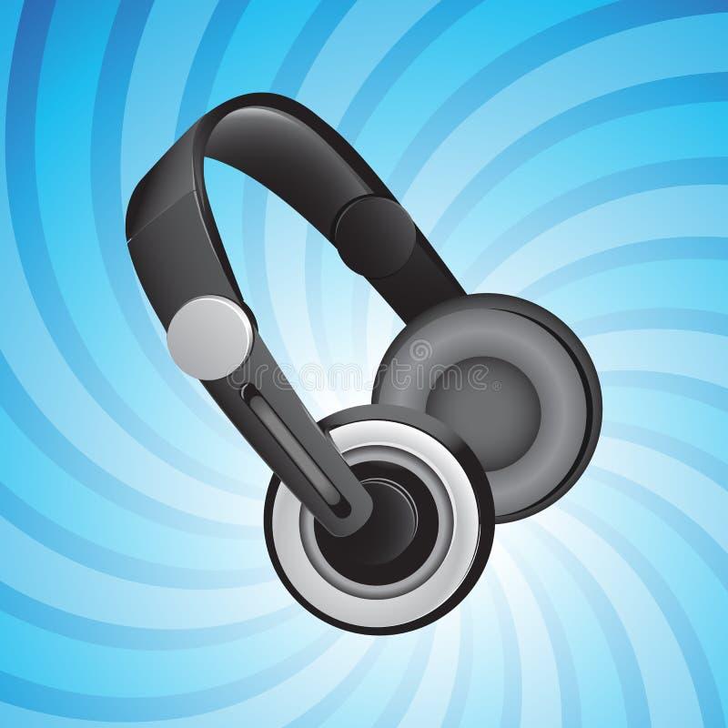 blå hörlurar stock illustrationer