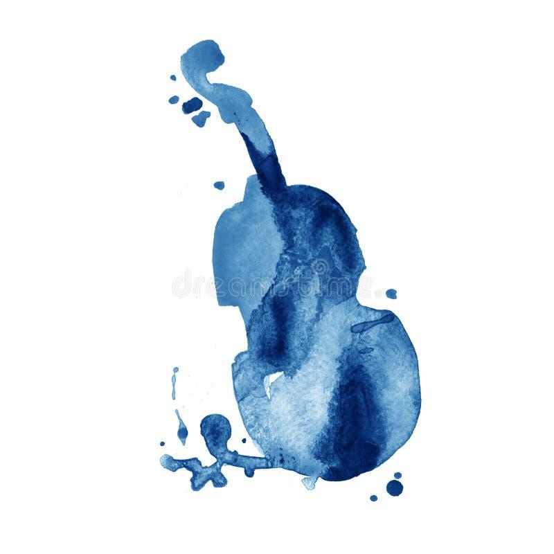 Blå hand dragit klassiskt stringed musikinstrument Vattenfärgkontrabas stock illustrationer