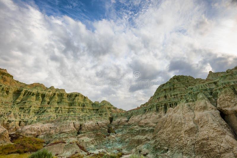 Blå handfat i John Day Fossil Beds royaltyfria bilder