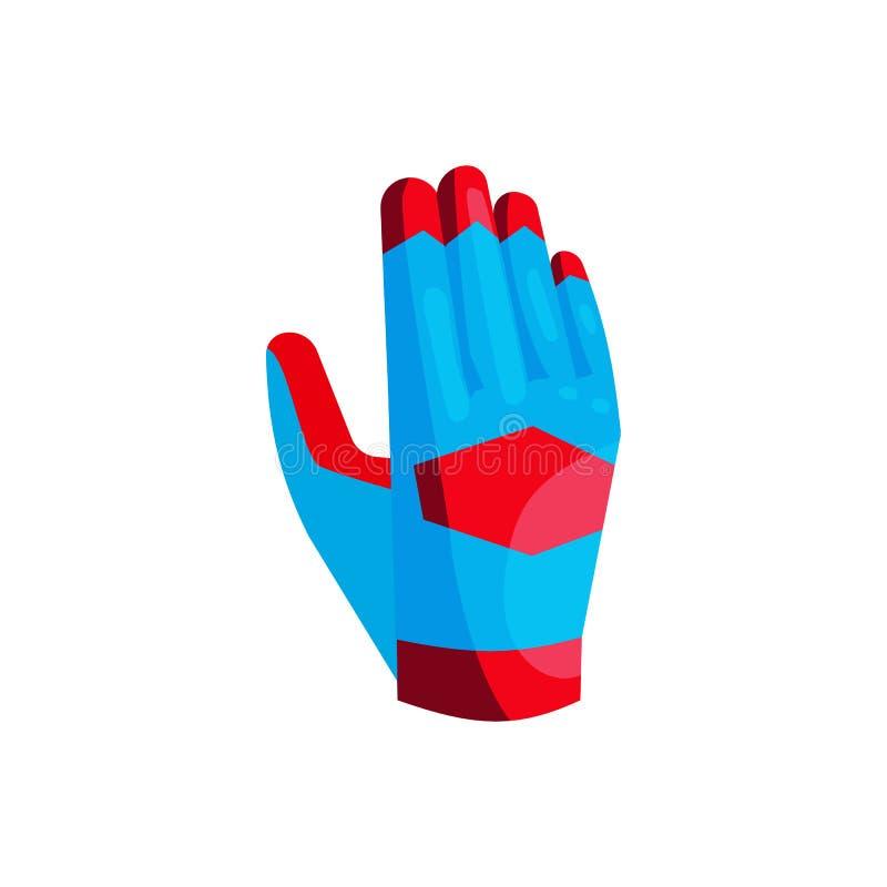 Blå handske av målvaktsymbolen, tecknad filmstil royaltyfri illustrationer