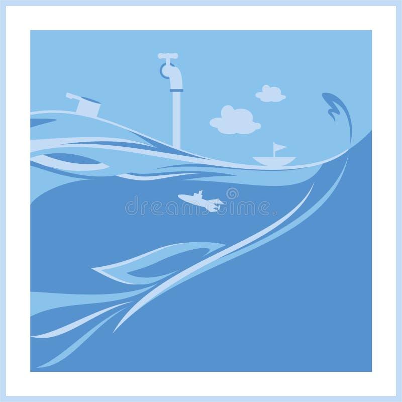 Blå havillustration vektor illustrationer