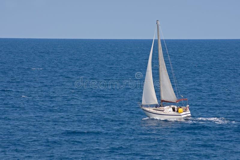 blå havseglingyacht royaltyfri foto