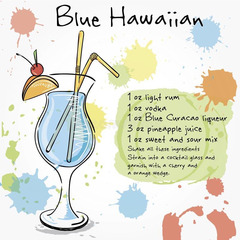 blå hawaiibo Hand dragen illustration av coctailen stock illustrationer