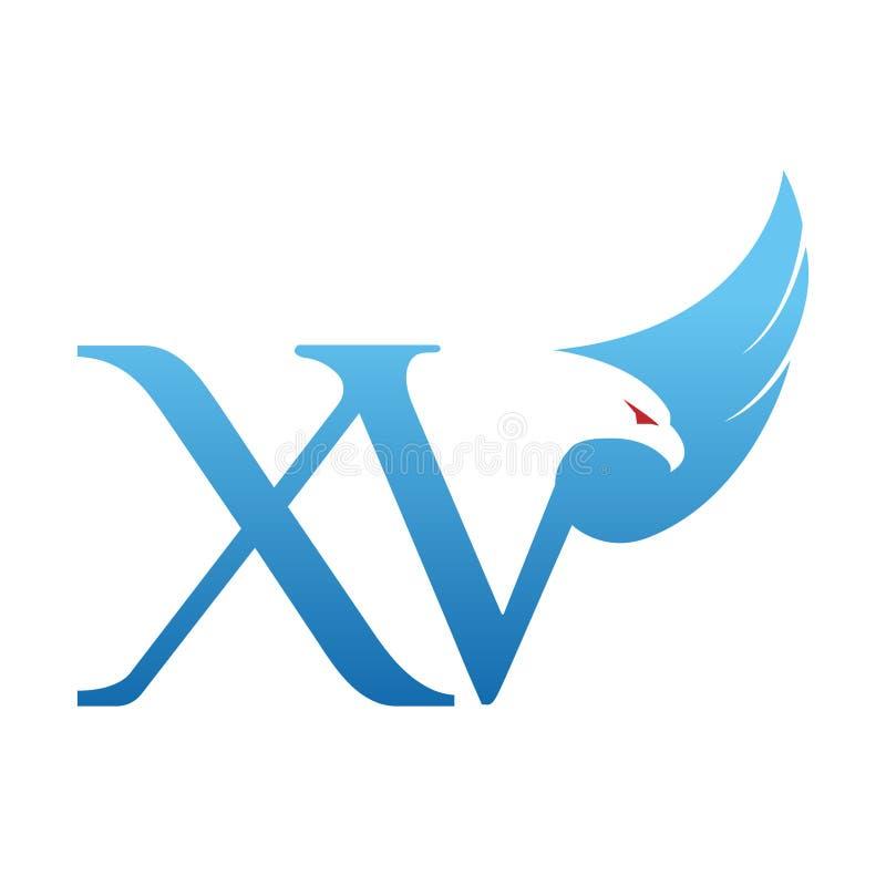 Blå Hawk Initial XV för vektor logo vektor illustrationer
