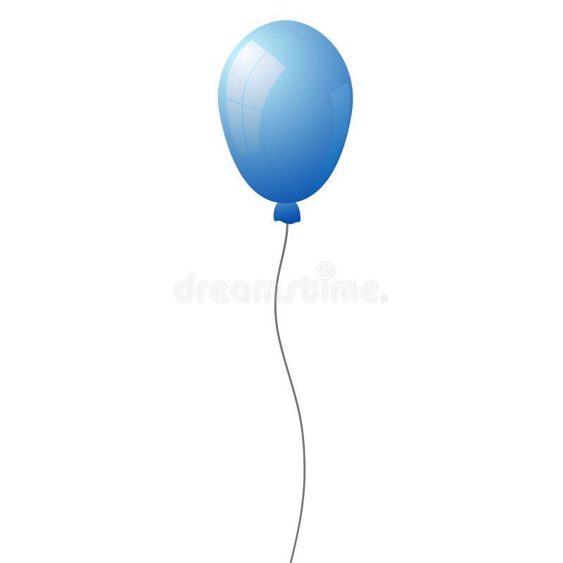 Blå heliumluftballong som isoleras på genomskinlig bakgrund Vect vektor illustrationer