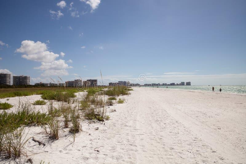 Blå himmel över vit sand och grönt strandgräs av Tigertail Beac arkivfoto