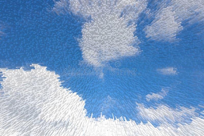 Blå himmel 3D pressar ut kvartermodellbakgrund, vektor illustrationer