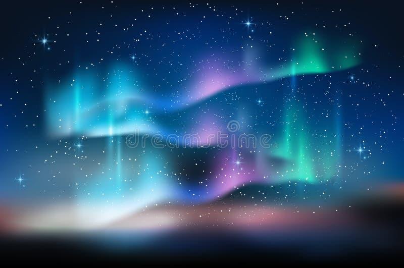 Blå himmel för morgonrodnad och mycket stjärna i form av den mjölkaktiga vägen, astronomibakgrund, vektorillustration stock illustrationer