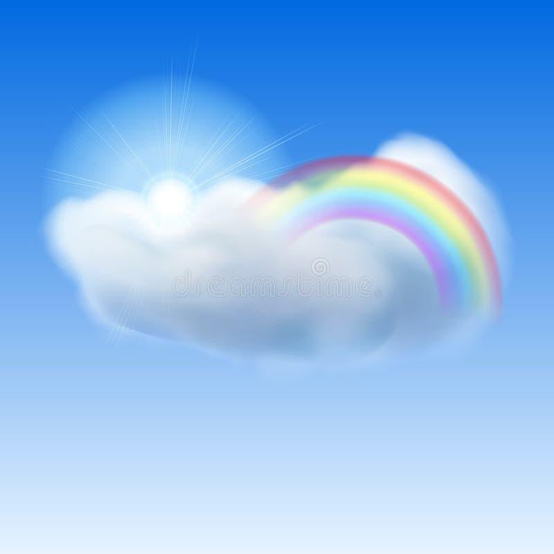 Blå himmel med solen, molnet och regnbågen royaltyfri illustrationer