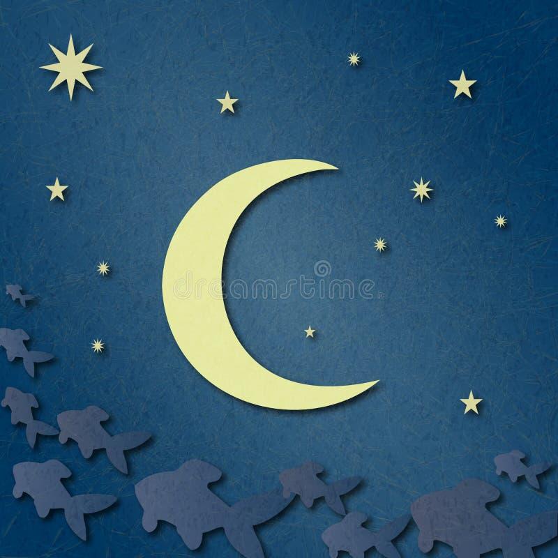 Blå himmel med stjärnor, månen och fantasi fördunklar i form av den sagolika fisken royaltyfri illustrationer